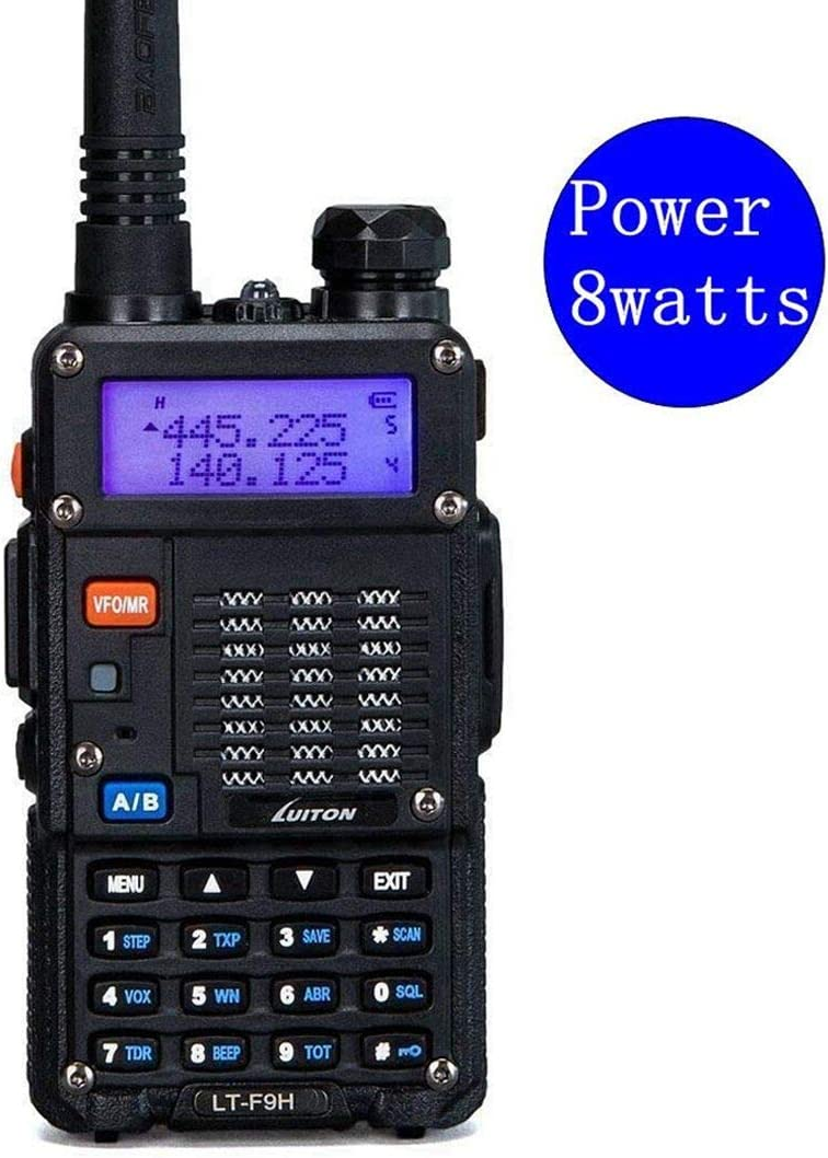 High Power Walkie Talkies 8-Watt Dual Band Two-Way Radio LT-F9H 136-174MHz VHF 400-520MHz UHF Includes Full Kit with Large Battery by Luiton