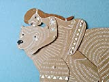 Girl with Bear articulated paper doll, hand painted whimsical paper puppet with movable parts