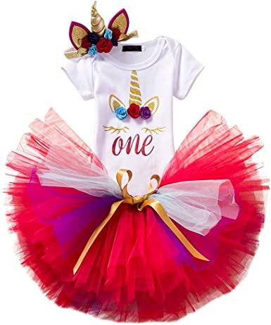 IWEMEK Bebé 1er / 2 ° Cumpleaños Unicornio Niñas Princesa Trajes ...