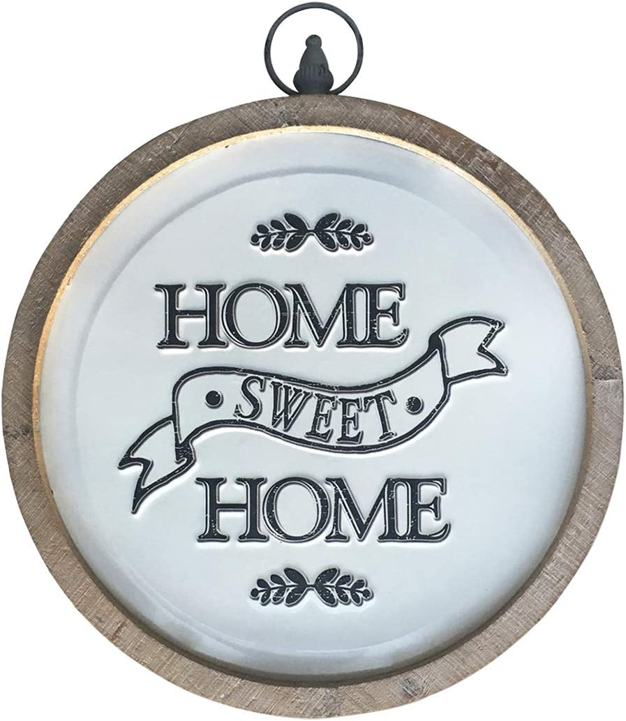 Circular Home Sweet Home Sign, Rustic Farmhouse Wood and Metal Round Home Decor Wall Art, 14 Inches