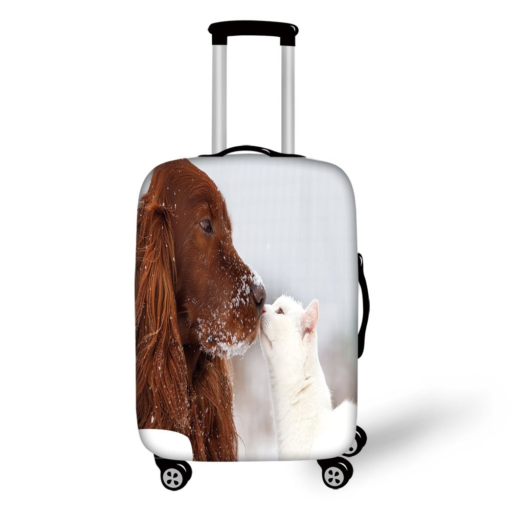 Travel Luggage Cover Suitcase Protector,Winter,Irish Setter and Cute White Cat in Snow Playing Together Friendship Love Adornment Decorative,,for Travel