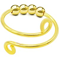 Tik Tok Fidget Rings for Anxiety for Women - Spinner Ring With Beads Adjustable Finger Single Coil Spiral, Beads Rotate…