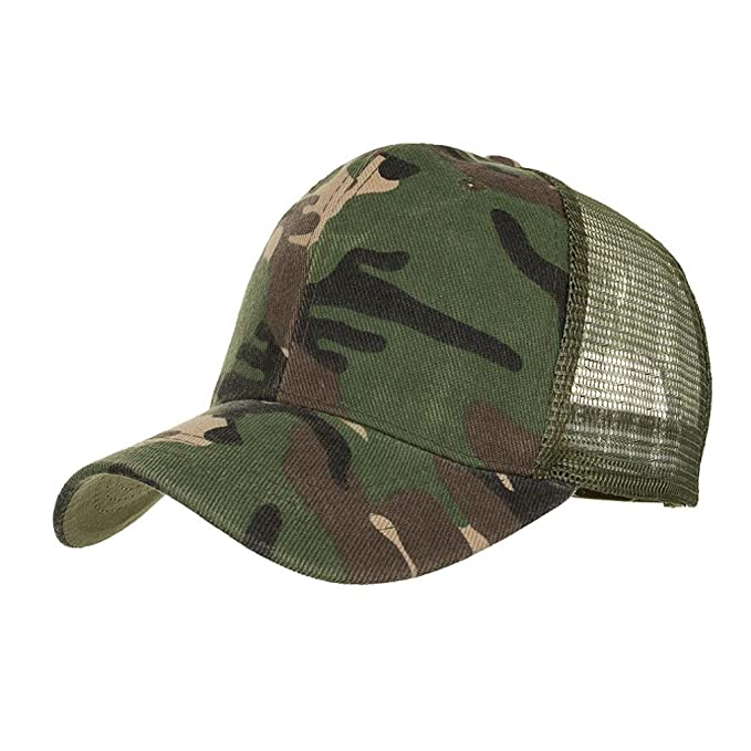 ac1053c65f Amazon.com: Yuxikong Unisex Caps,Camouflage Summer Cap Mesh Hats for Men  Women Casual Hats Hip Hop Baseball Caps (Army Green, Free): Clothing
