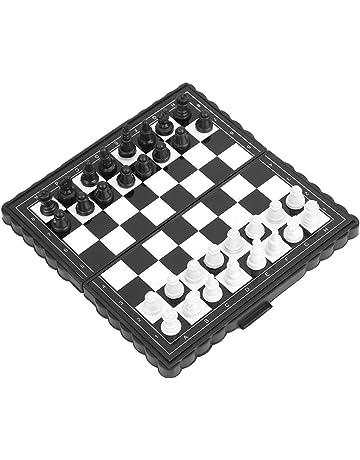 46536814b9ff JADESHAY Juego de ajedrez portátil - Juegos de ajedrez de Jaques Plegables  de plástico con Estuche