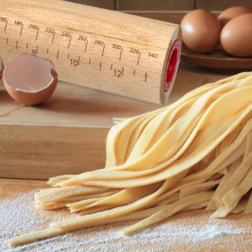 pasticcini e biscotti small 35.5 x 6.5 cm Mattarello antiaderente con anelli guida in legno di faggio con scala e anelli di spessore regolabile per cuocere pizza