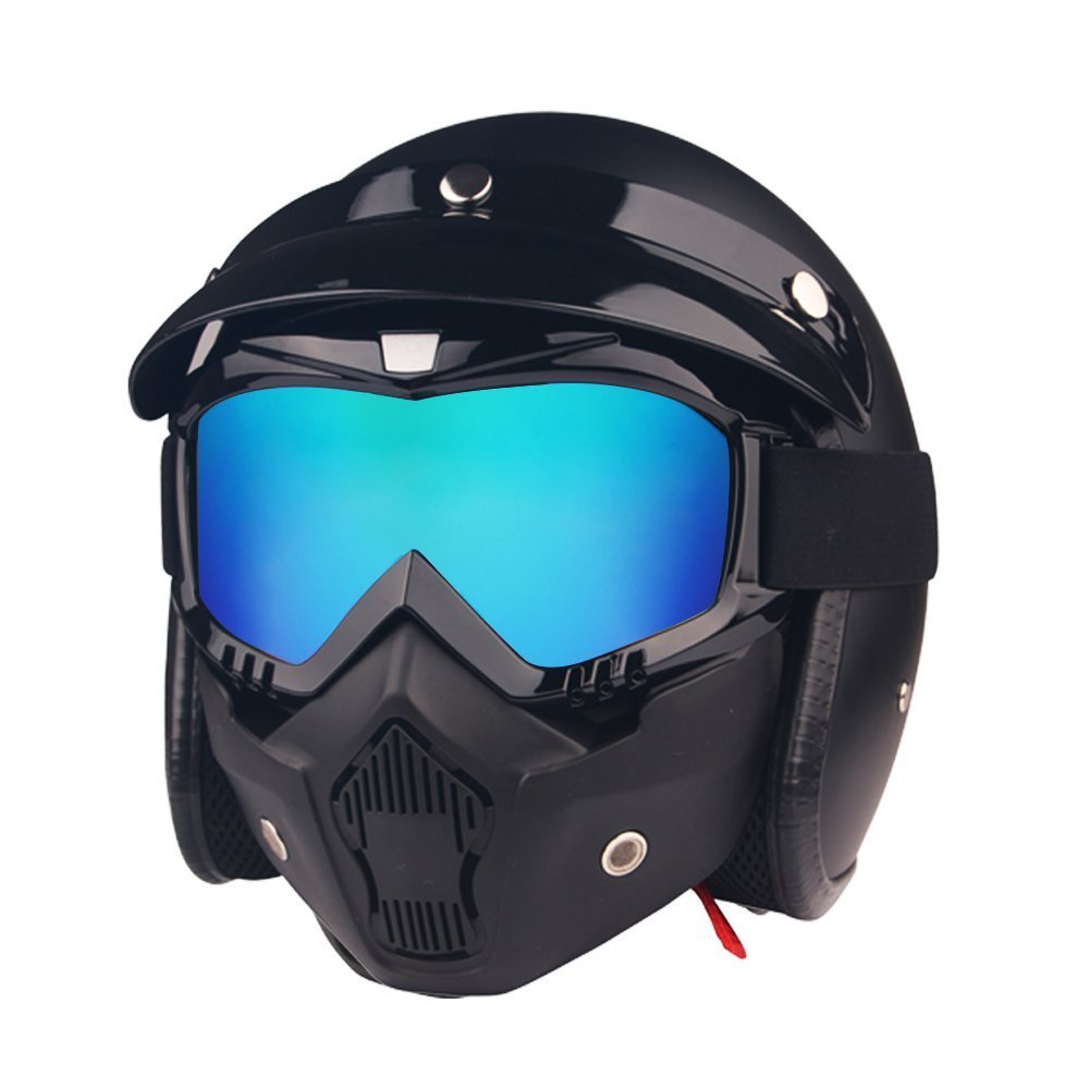 HCMAX Motorcycle Goggles Glasses With Detachable Face Mask Harley Style Helmet Fog-proof Windproof Riding UV Protection Sunglasses Yellow