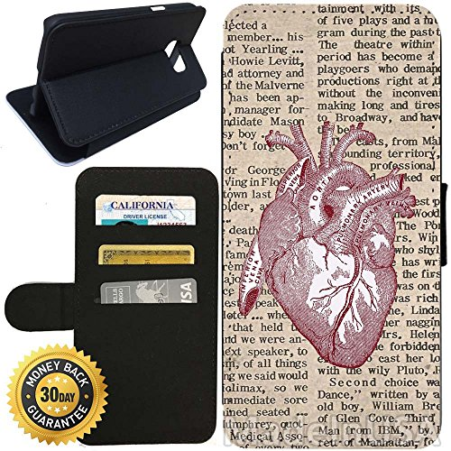 - Flip Wallet Case for Galaxy S7 (Vintage Anatomical Heart Newspaper) with Adjustable Stand and 3 Card Holders | Shock Protection | Lightweight | Includes Stylus Pen by Innosub