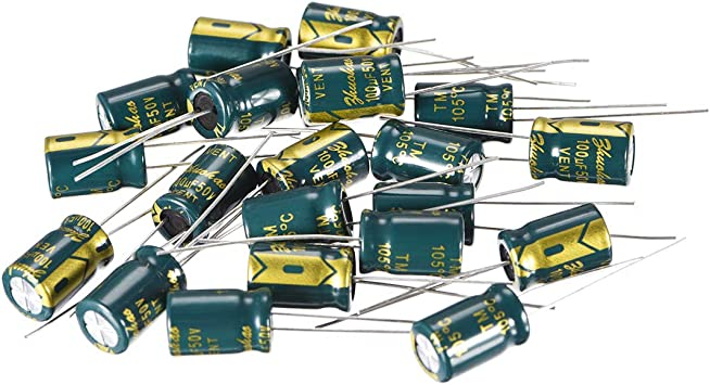uxcell Aluminum Radial Electrolytic Capacitor Low ESR Green with 22uF 100V 105 Celsius Life 3000H 8 x 12 mm High Ripple Current,Low Impedance 20pcs