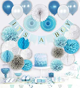 VIDAL CRAFTS Baby Shower Decorations for Boy, Its a Boy Party Decor, Complete Kit for Boys Baby Shower