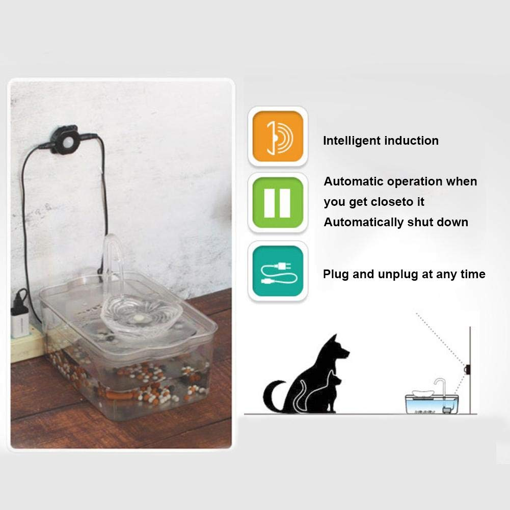 Agua de circulaci/ón//Bomba silenciosa//caudal de Agua Ajustable//Carga USB DEQUATE Fuente de Agua autom/ática para Gatos 2.6L Inducci/ón infrarroja dispensador autom/ático de Agua Transparente