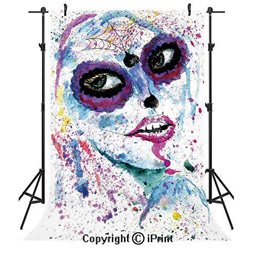 Girls Photography Backdrops,Grunge Halloween Lady with Sugar Skull Make Up Creepy Dead Face Gothic Woman Artsy,Birthday Party Seamless Photo Studio Booth Background Banner 6x9ft,Blue Purple -