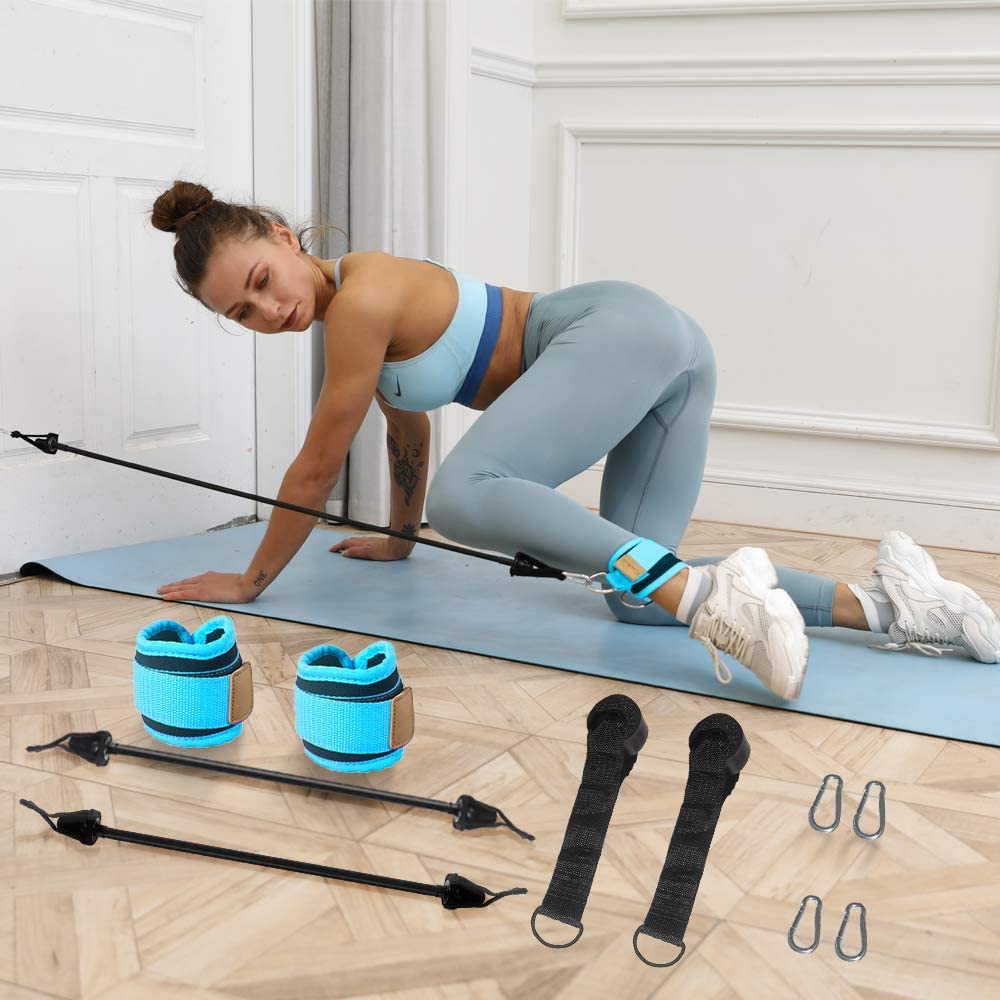 Workout Band Set for Training Physical Therapy TOCO FREIDO 2 Pack Resistance Band with Door Anchor and Ankle Strap Rehab Bands for Leg and Butt Yoga Pilates Home Workouts