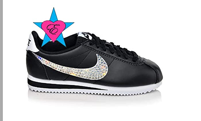 39a7a026e3845c Amazon.com  Custom Black White Crystal Blinged Women s Nike Classic ...