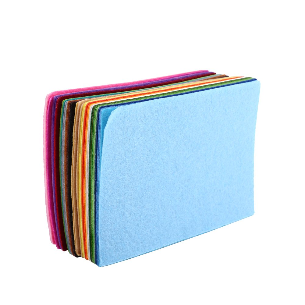 Mixed Colors Felt Fabric Nonwoven Sheet Square For Sewing Craft DIY 10 × 15cm 40 Pcs Zerone