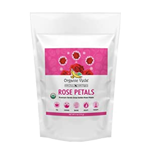 Organic Veda Rose Petal – Pure, Non-GMO, 100% Organic USDA Certified Food Grade Premium Gentle Dried Rose Petals for Tea, Cooking, Baking, Beauty, Therapy & Crafts – 4 Oz