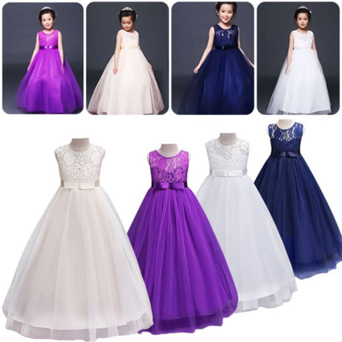 Amazon.com: Kids Girls Pageant Princess Dress Wedding Bridesmaid ...