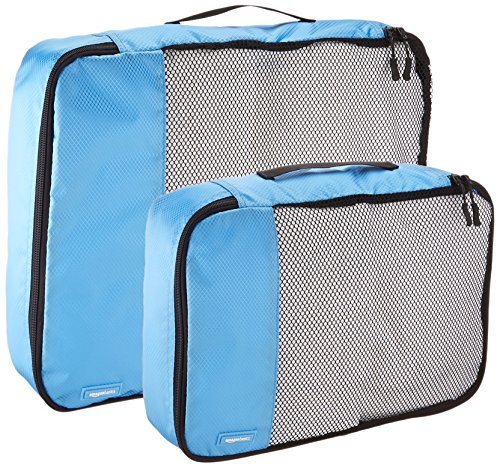 AmazonBasics 4-Piece Packing Cube Set - 2 Medium and 2 Large, Sky Blue