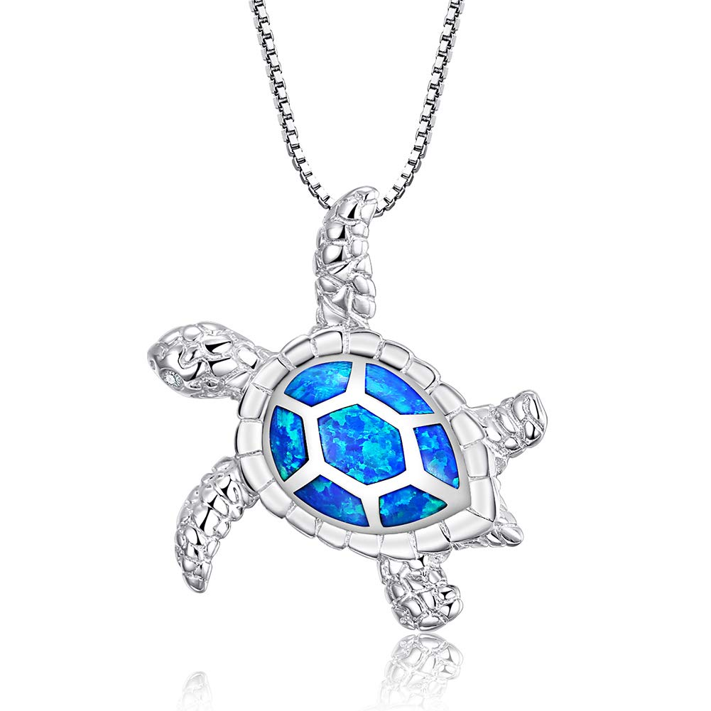 "[Health and Longevity] 925 Sterling Silver Created Blue Opal Sea Turtle Pendant Necklace 18"", Birthstone Jewelry for Women(Blue)"