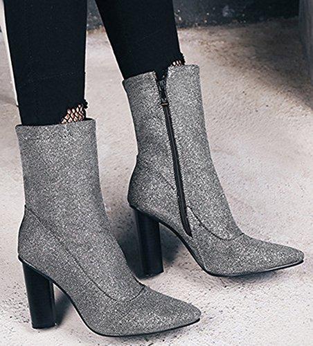 IDIFU Womens Fashion Glitter Pointed Toe High Chunky Heel Mid Calf Boots Silver 49V7ROve