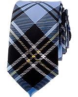 "TopTie Unisex Black and Light Blue Plaid Skinny 2"" inch Necktie"
