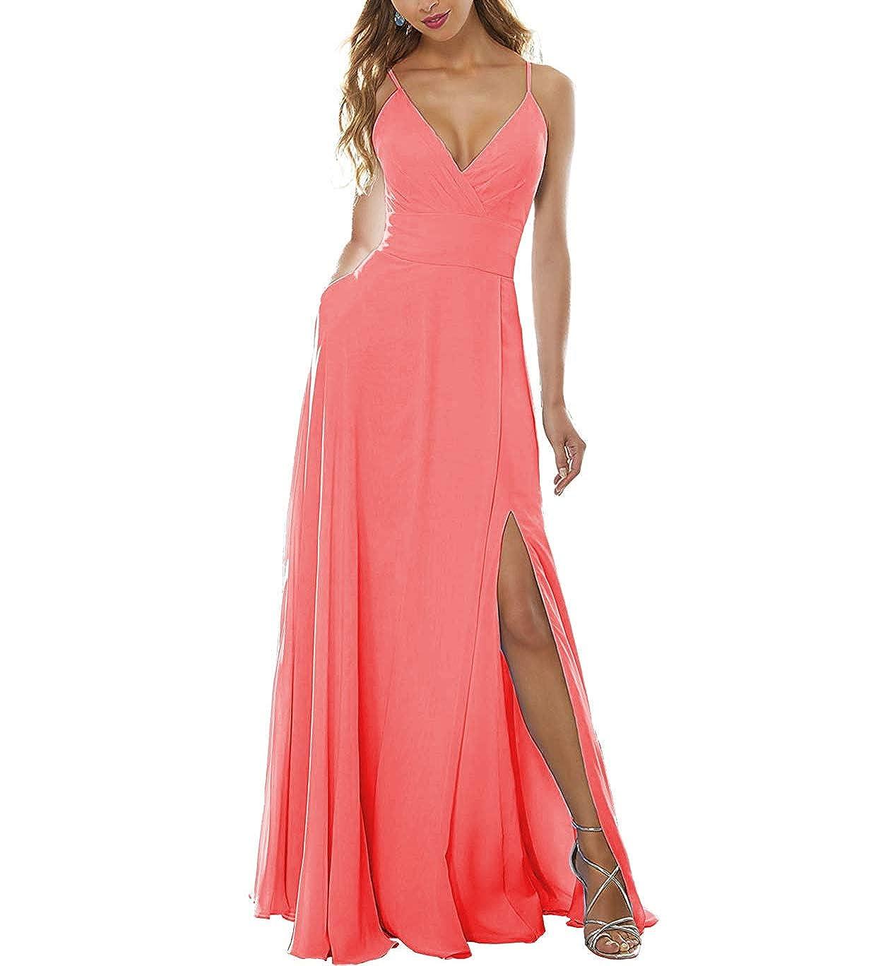 Dark Peach Stylefun Women's Side Split Bridesmaid Gowns VNeckline Spaghetti Straps Long Prom Party Dresses KN004