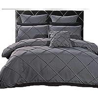 Grey Diamond Cross 3 Piece Quilt Cover Set, Super Soft Duvet Cover Set Includes 2 Pillowcases(Super King/King / Queen Size Options)