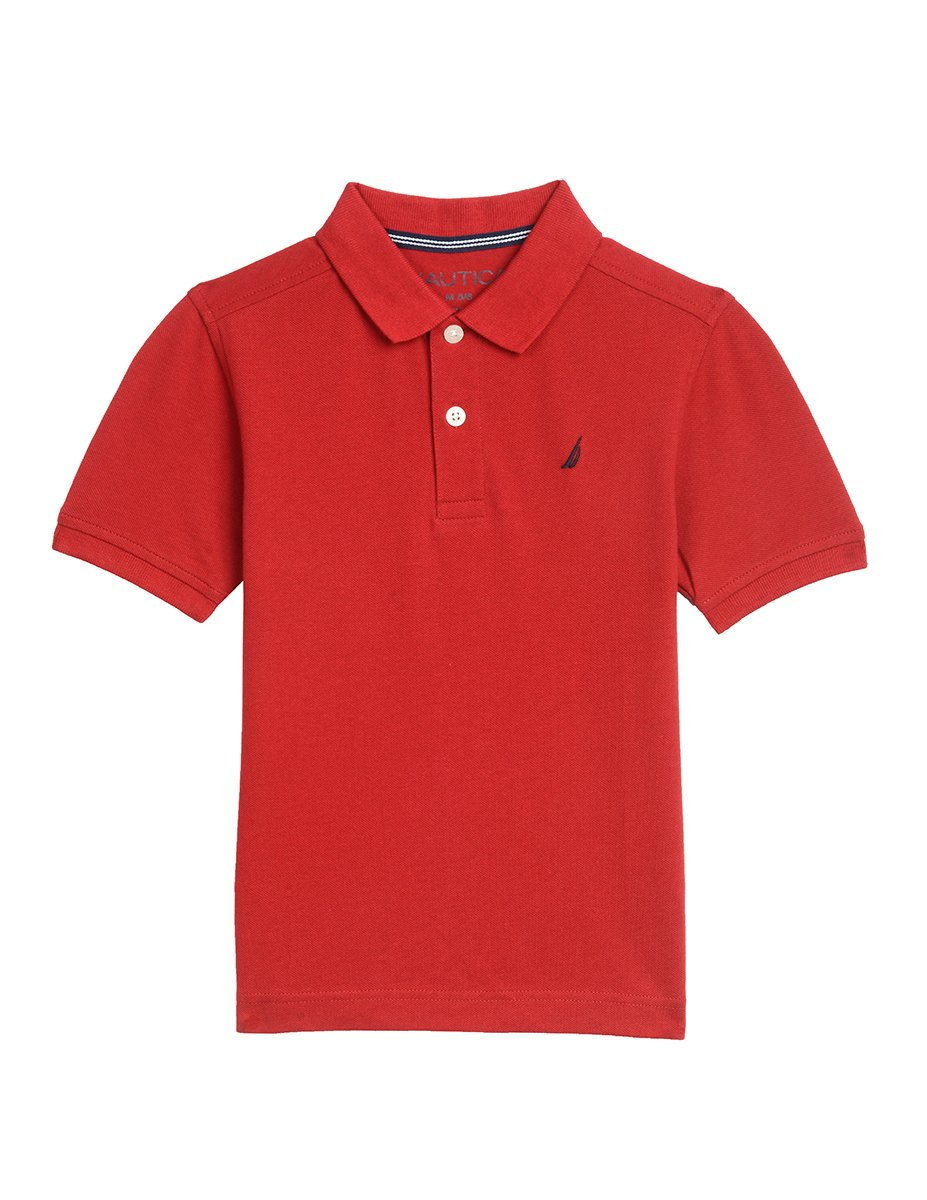 Nautica Little Boys' Short Sleeve Solid Deck Stretch Polo, Red Rouge, 5/6