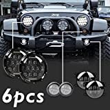 "Automotive : (Pack of 6) Partsam 2x75W 7""inch LED Jeep Wrangler Headlight( DRL HIGH LOW BEAM)+2x4W Clear Lens Front turn signal Light+2x30W 4""inch Fog Light for JEEP JK Wrangler JK LJ CJ Grand Cherokee"