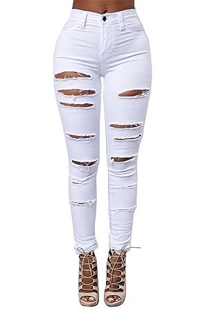 Mujer Vaqueros Pantalones Skinny Agujero Rasgado Stretch Pantalones Pencil
