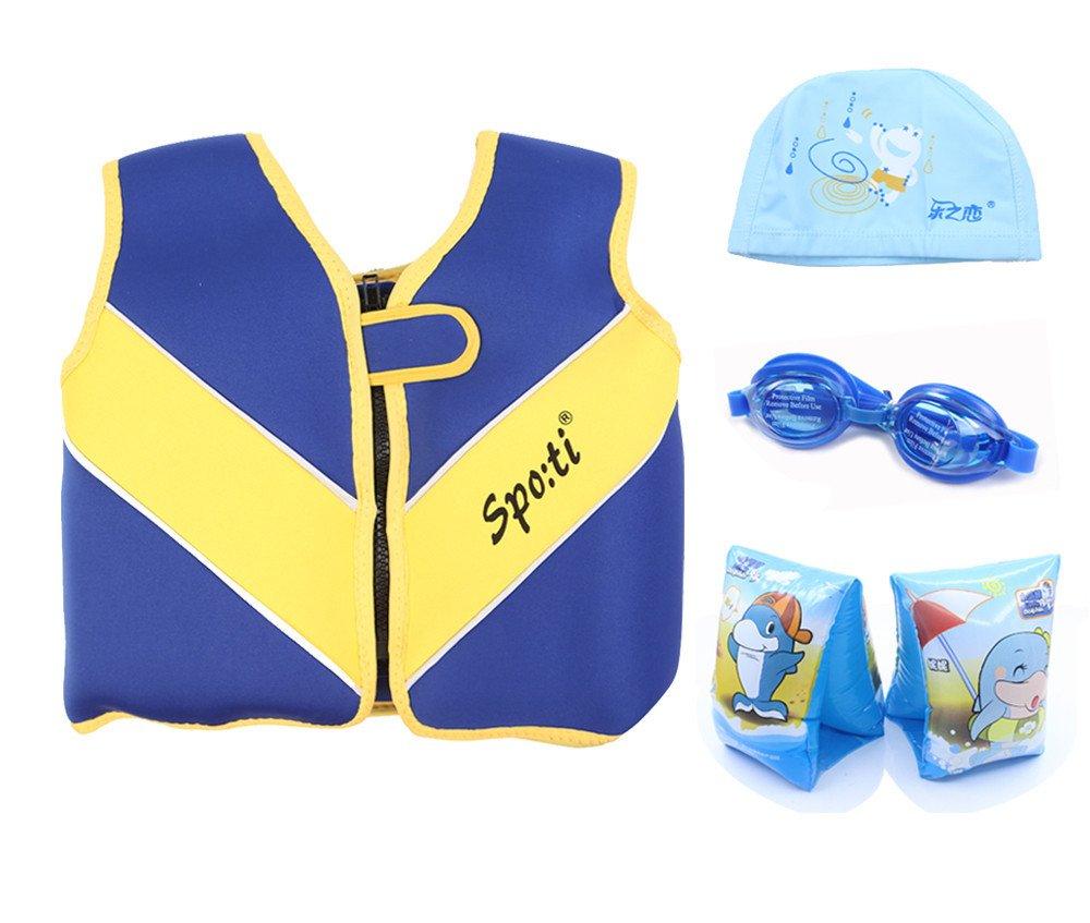 赤ちゃんの水泳大ライフベスト18月 – 7年カラーブルーInclude Swimアームバンドと水泳ゴーグルとスイムキャップ B01EJQBMC0  ブルー Large