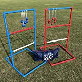 JaperBees Premium Series Ladder Ball Toss for Outdoor Lawn Game with Heavy Duty Pipes and 6 Real Golf Ball Bolas, Fasion Carrying Bag