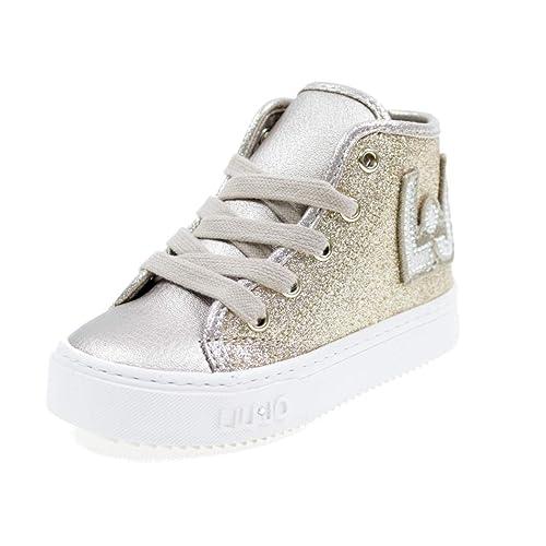 3857274eaf561 LIU-JO GIRL Scarpe Alte Lacci E Zip Glitter E Logo LJ Bimba L1A420005 Oro  Taglia  21  Amazon.it  Scarpe e borse