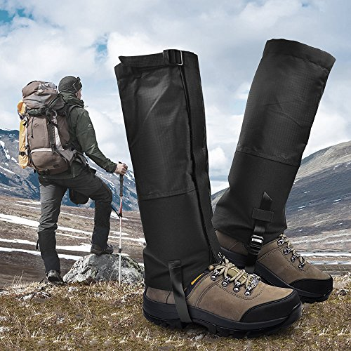 , Waterproof Snow Boot Gaiters 600D Anti-Tear Oxford Fabric Outdoor Waterproof Snow Leg Gaiters for Outdoor Hiking Walking Hunting Climbing Mountain (Black, L) ()