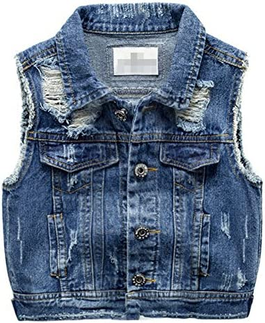 Chumhey Baby /& Little Girls//Boys Lapel Raw Edge Deep Blue Denim Vests