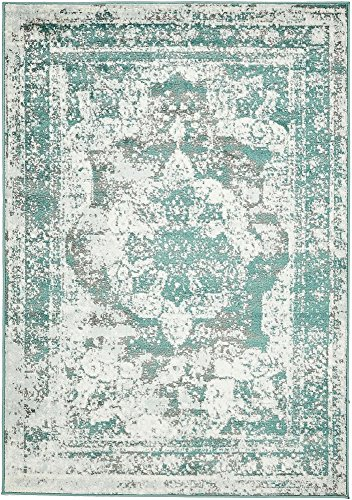 Unique Loom 3137823 Sofia Collection Traditional Vintage Beige Area Rug, 4' x 6' Rectangle, Turquoise