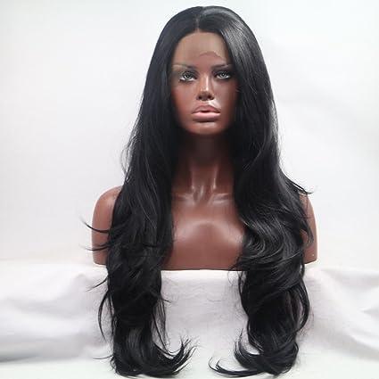 Sylvia 1B # Negro Natural Pelo Largo Onda Natural Peluca Peluca Lace Front sintético resistente al