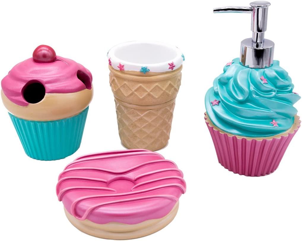 YangShiMoeed 4-Piece Ice-Cream Bathroom Accessories Sets with Ice Cream Cone Lotion/Soap Dispenser,Cone Bath Cup/Tumbler,Doughnut Soap Dish,Milkshake Toothbrush Holder Best Gift for Children