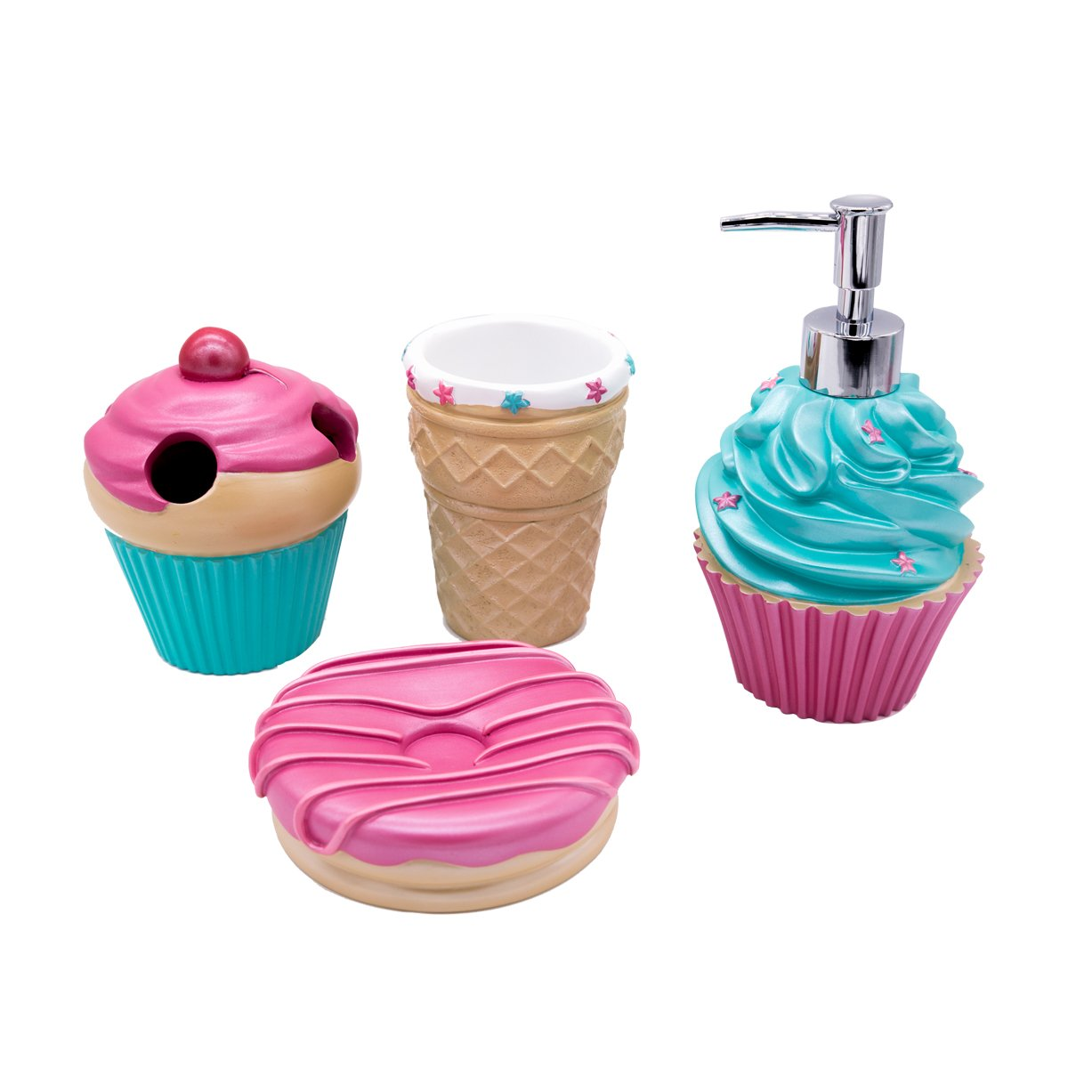 Bathpro 4-PIECE Ice-cream Bathroom Accessories Completes with Ice Cream Cone Lotion/Soap Dispenser,Cone Bath Cup/Tumbler,Doughnut Soap Dish,Milkshake Toothbrush Holder for Kids Bath Train (Pink) Outstanding Household