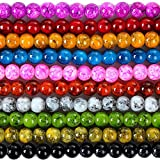RUBYCA 8mm 2 Strands Czech Glass Round Beads Mix Painted Colored String for Jewelry Making DIY