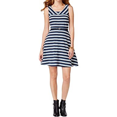 cae5bc689b Image Unavailable. Image not available for. Color: Tommy Hilfiger Fit and Flare  Dress, Core Navy ...