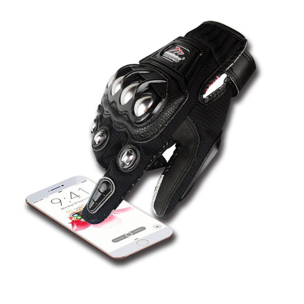 oubaiya Steel Outdoor Reinforced Brass Knuckle Motorcycle Motorbike Powersports Racing Textile Safety Gloves (Black, X-Large) by oubaiya (Image #4)