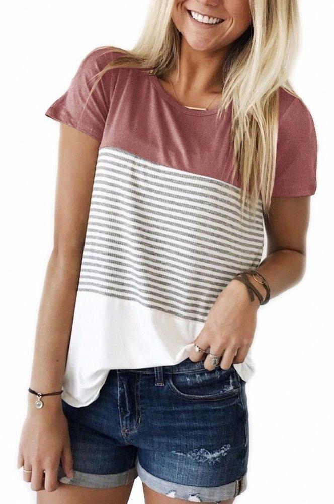 Smalnnie Cotton Round Neck Tshirt For Women Round Hem Color Block Trendy Top Pink XL
