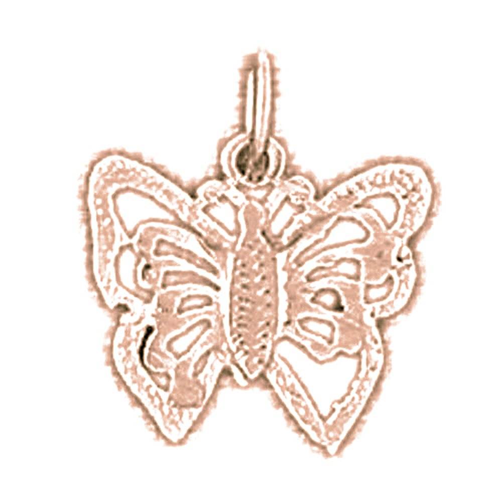 14K Rose Gold-plated 925 Silver Butterflies Pendant with 16 Necklace Jewels Obsession Butterflies Necklace