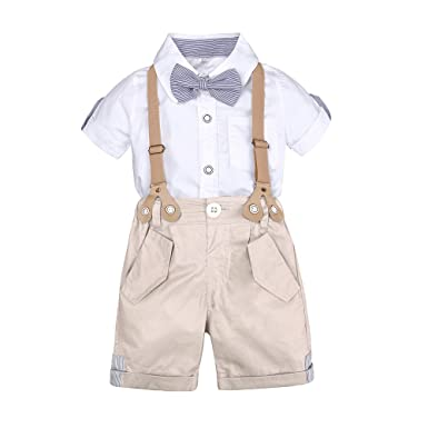 d9eb175f21f4 Image Unavailable. Image not available for. Color  Kids Tales Baby Boys  Shorts Outfits Set Bowtie Short Sleeve Shirt + Bib Pants Clothes Set