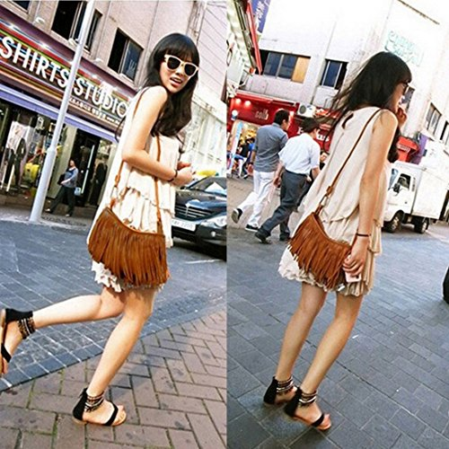 Messenger Brown Swiftswan Tassel Women's Bag Body Fringe Punk Satchel Cross Suede Shoulder q10UPqw