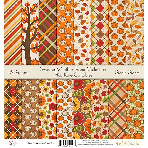 (Pattern Paper Pack - Sweater Weather - Scrapbook Premium Specialty Paper Single-Sided 12