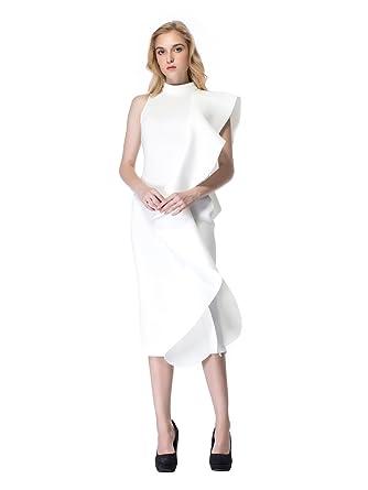 d67d5fb8fb5b White Day Women's Sexy White Sleeveless Patchwork Ruffles Knee-Length  Bodycon Dress (Small)