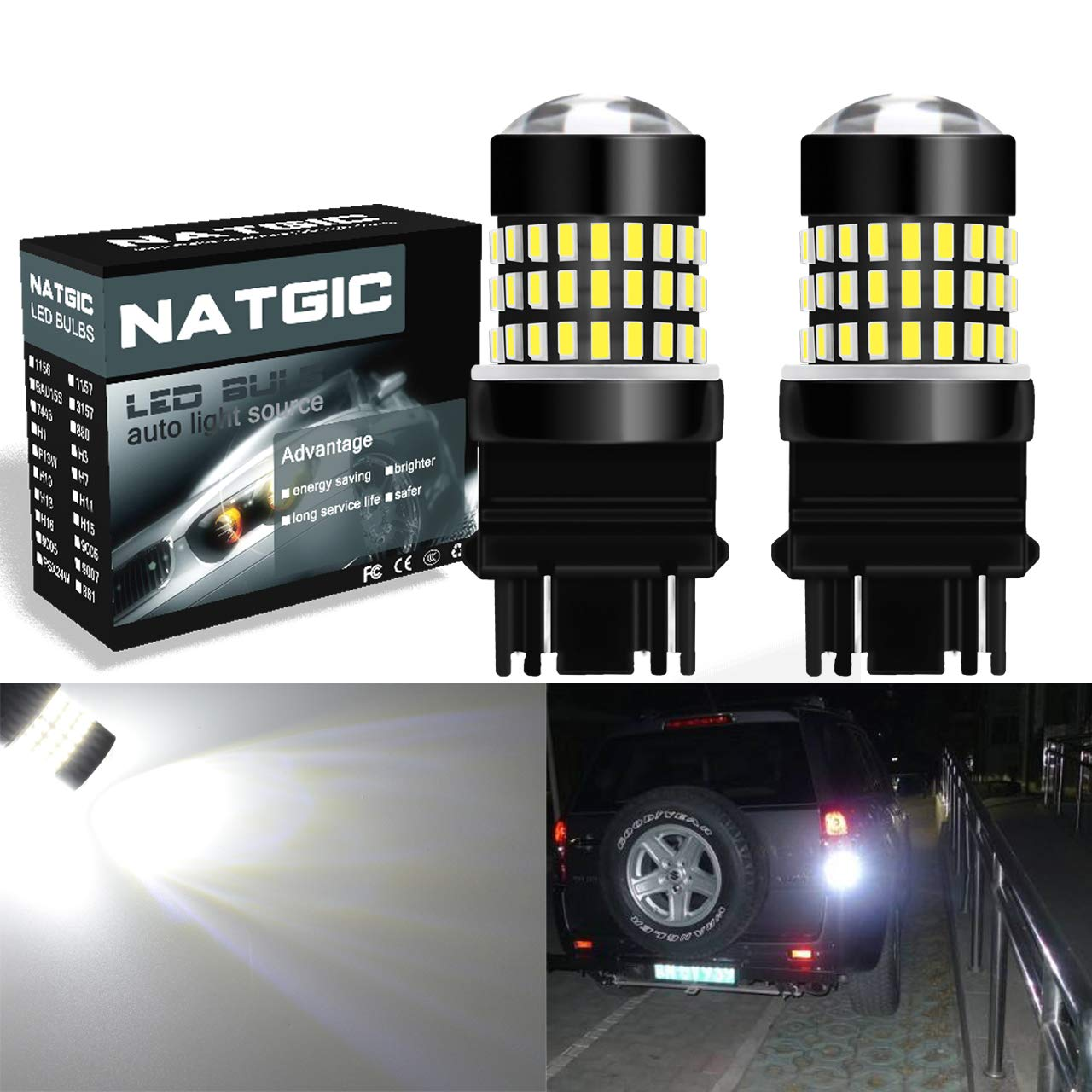 2-Pack NATGIC 3157 3156 3057 4157 3155 LED Bulbs Amber 1800LM 3014SMD 78-EX Chipsets with Lens Projector for Brake Stop Brake Turn Signal Lights,12-24V