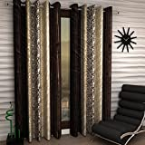Home Sizzler Abstract Eyelet Polyester Long Door Curtain Set - 9ft, Brown, Set of 4
