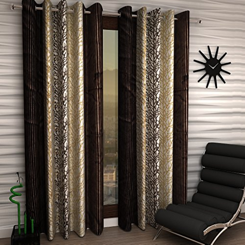 Home Sizzler Abstract 2 Piece Eyelet Polyester Door Curtain Set  – 7ft